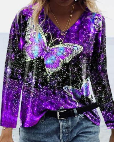 Fashion Colorful Butterfly Print V Neck Long Sleeve T-shirt
