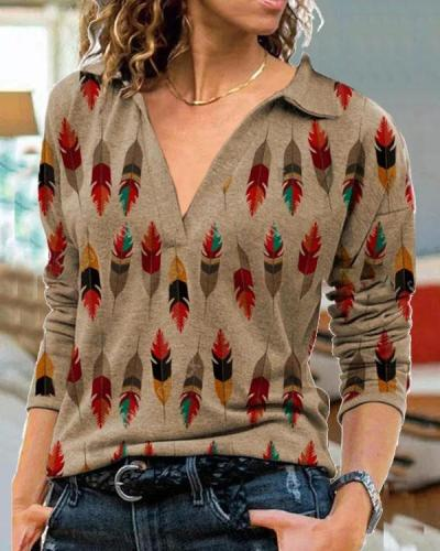Plus Size Vintage Feather Shirt Collar Long Sleeve Tops