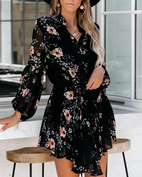 Long Sleeve V-neck Simple Print Dress