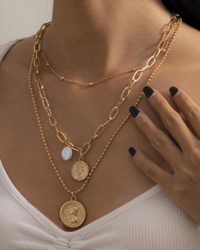 Fashion 3Pcs Cross Coin Layered Necklace