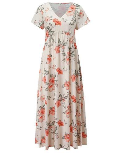 Women Floral Tunic V-Neckline Maxi A-line Dress