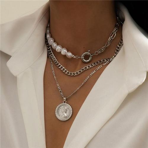 Fashion 3Pcs Cross Layered Pearl Necklace