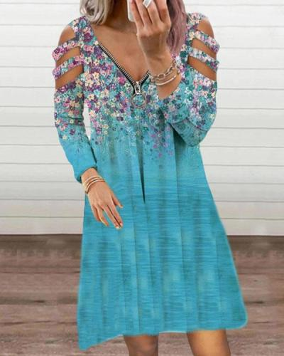 Casual Zipper Neck Hollow out Long Sleeve Floral Ombre Dress