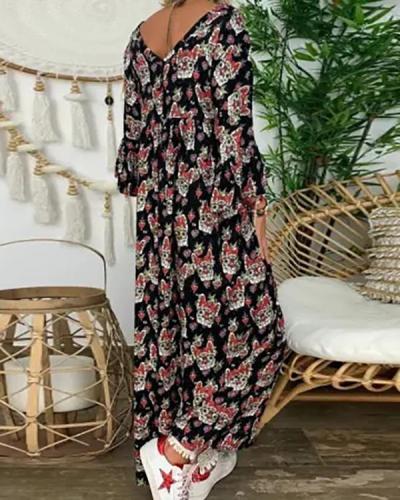 Deep V-neck Long Sleeve Loose Boho Style Floral Sundress