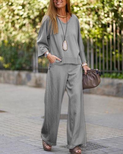 Casual Long-sleeved Round Neck Suit