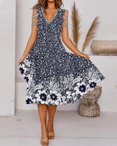 Elegant Multifloral Print Tunic V-Neckline Midi A-line Dress