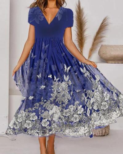 Elegant Floral V-Neckline Pleated Midi A-line Dress
