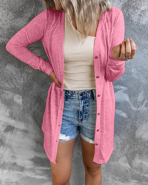 Button Solid Color Casual Long-Sleeve Cardigan