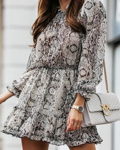 Snake Print Lace Sexy Dress