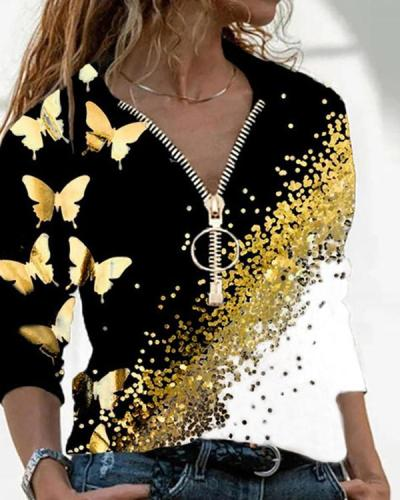 Butterfly Print V Neck Long Sleeve Blouses Tops