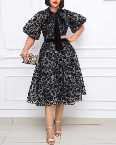 Stand-up Collar Black Lace Fashion Slim Dress