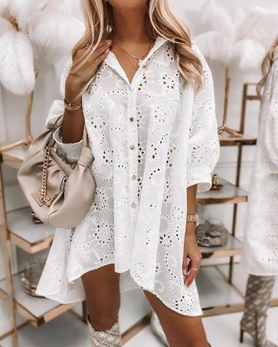 Loose Hollow Single-breasted Shirt Dress