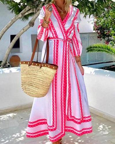 Printed Long Sleeve V-Neck Fashion Dress