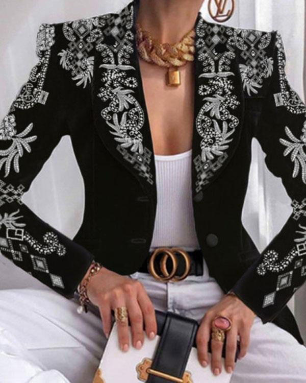 Fashion All-match Printed Blazer Lapel Suit