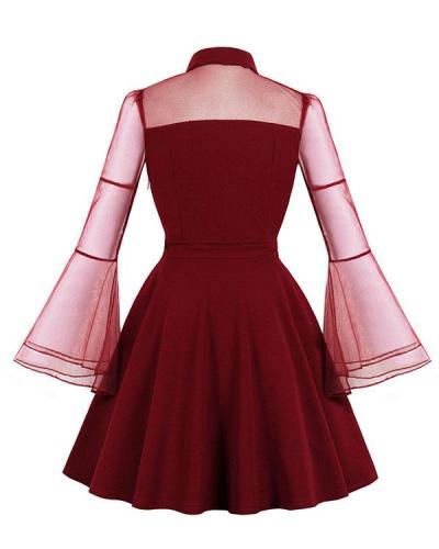 Halloween Black Queen Yarn Stitching Flare Sleeve Retro Dress