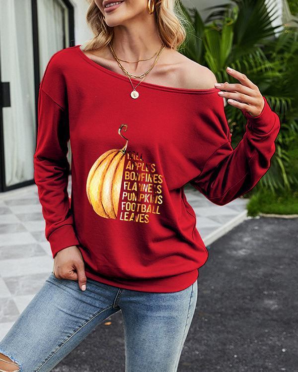 Slanted Shoulder Letter Fun Printed Long Sleeve T-Shirt