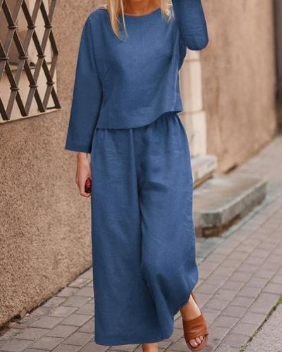 Autumn Solid Color Top And Trousers Casual Suit