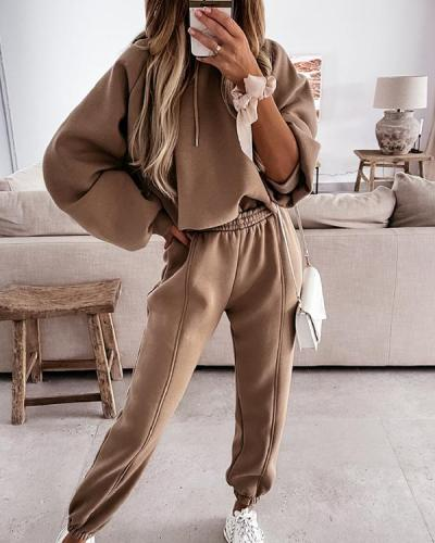 Women's Casual Hooded Sweater Suit