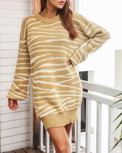 Lantern Sleeve Knitted Dress