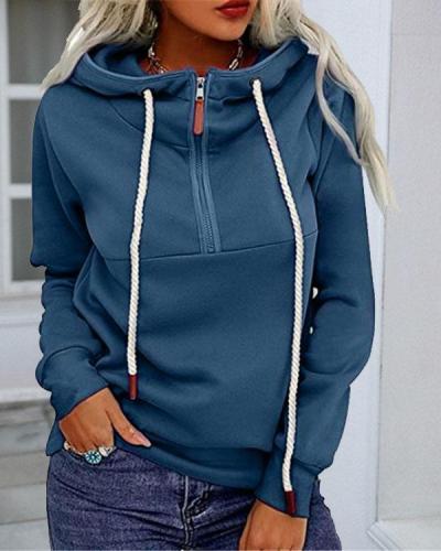 Women Pure Color Drawstring Zipper Hoodies Sweatshirt