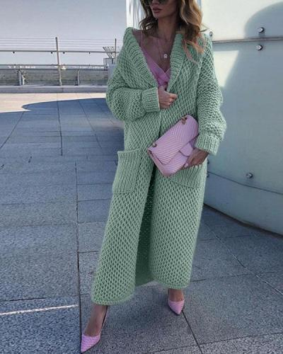 Solid Knitting Warm Cardigan Winter Long Coat With Pockets