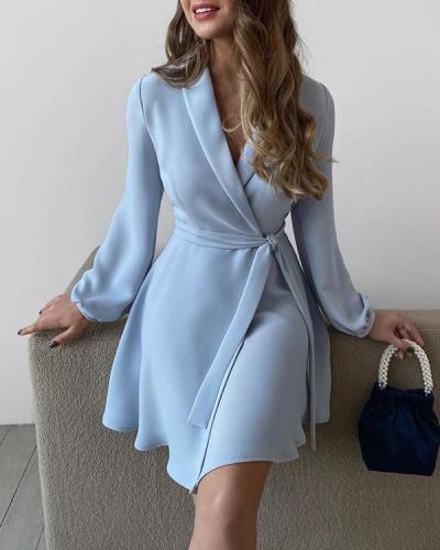 Plain Surplice Neck Long Sleeve Work Dress