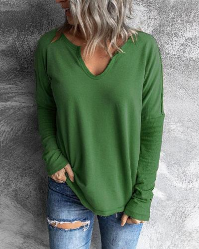Stitching V-neck Long-sleeved Sweatshirt Solid Casual Tops