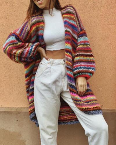 Mohair Stripe Cardigan Winter Oversize Coat Chunky Knit Outerwear