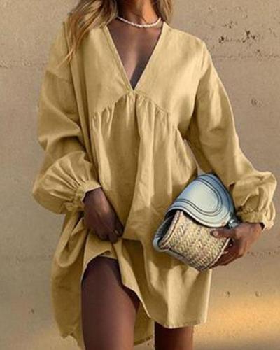 Linen Cotton V Neck Pleated Lantern Sleeve Mini Dress Casual Dress