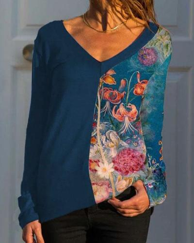 Women Plus Size V Neck Long Sleeve Daily Print Tops