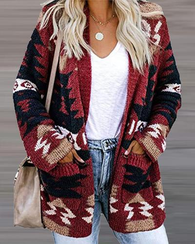 Casual Long-sleeved Knitted Cardigan
