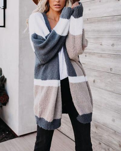 Fashion Color-block Knitted Cardigan