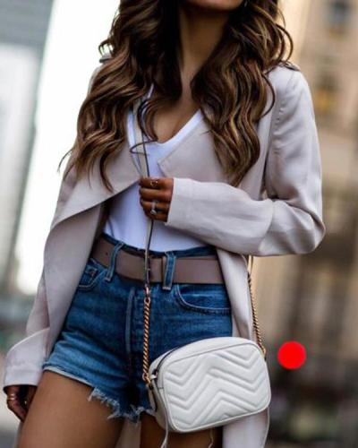 Long Sleeves Lapel Solid Color Long Coat
