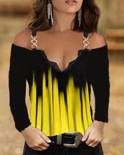 Cold Shoulder Stripe Long-sleeved Top
