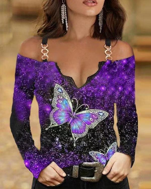Fashion Cold Shoulder Butterfly Long-sleeved Top