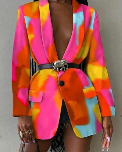 Women's Chic Long Blazers Colorful Print Coat