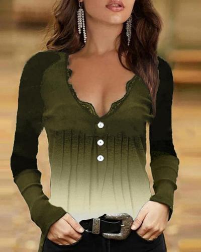 Cold Shoulder Lace V Neck Long Sleeve Top