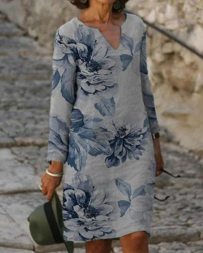 Floral Print V-Neckline Above Knee long sleeve Dress