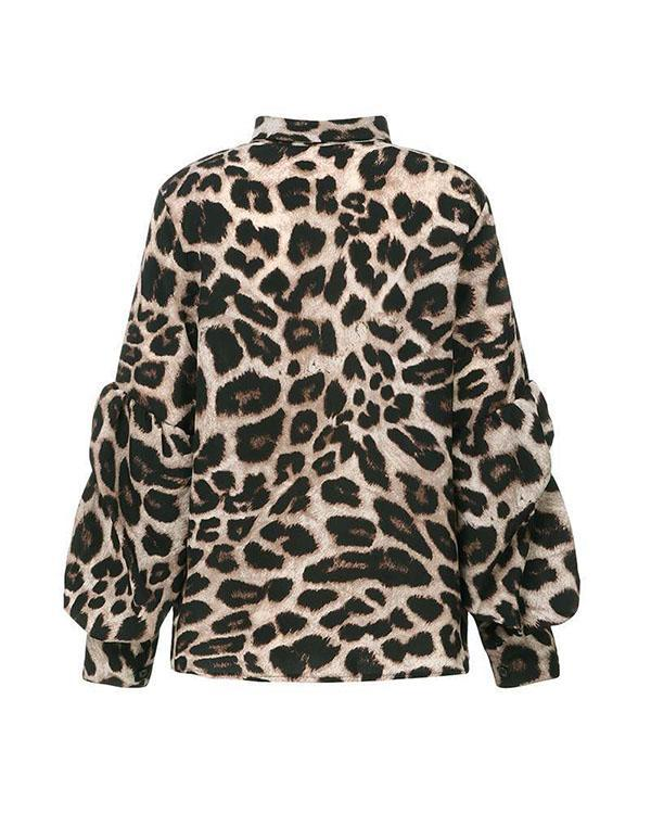 Fashion Leopard Polka Dot Blouse Chic Work Tops with Button