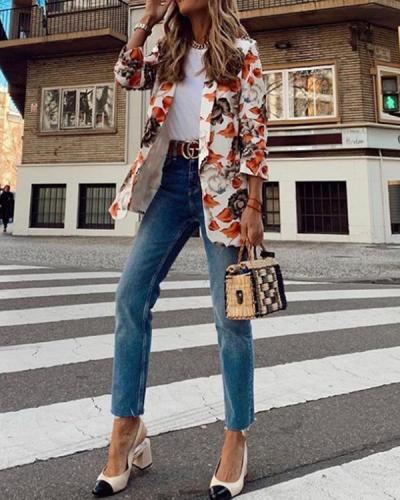 Printed Ladies Casual Small Suit Jacket