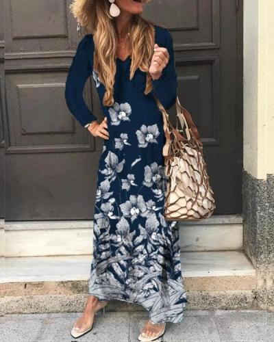 Women Floral Print  Long Sleeve Maxi Dress