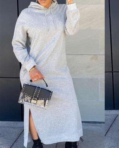Women Solid Hooded Sweartshirt Dress Long Sleeve Slit Maxi Dress