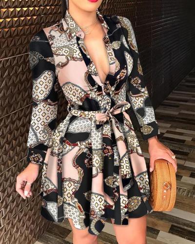 Long Sleeve V-neck Tie Fashion Sexy Printed Dress