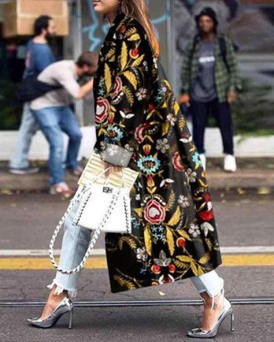 Fashion Print Lapel Long sleeve Trench Coats