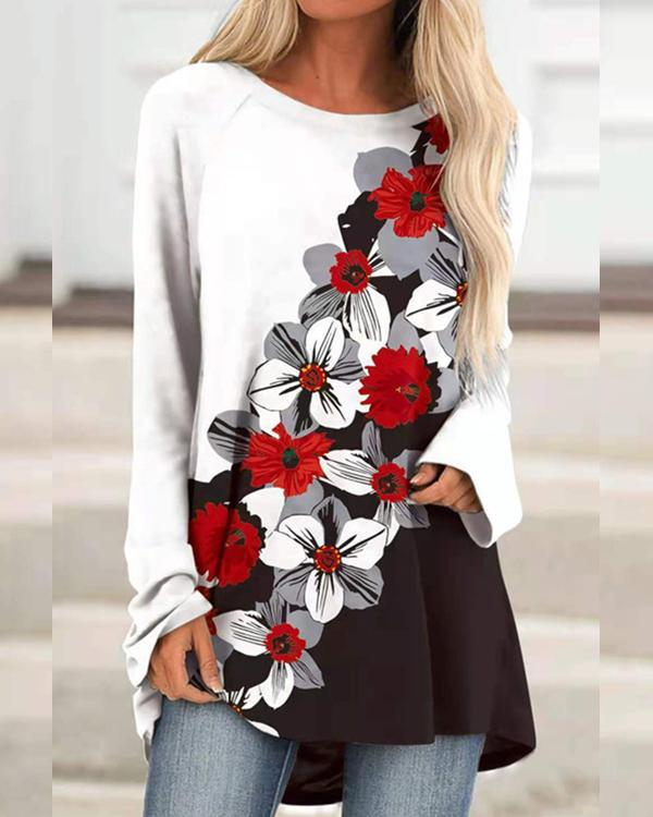 Floral Print Fall Round Neck Casual Long Sleeve Tops