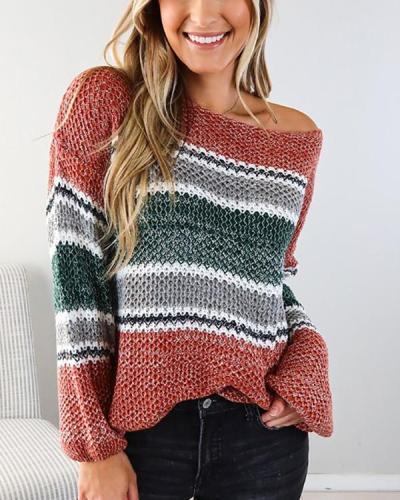 Sexy Oblique Shoulder Stripe Knittting Autumn Sweater