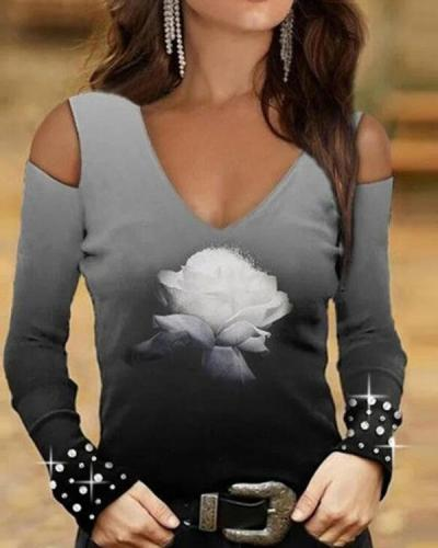 Sexy Cold Shoulder Ombre V Neck Flower Skinny Fall Top