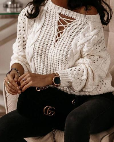 Twist Hollow Sexy Off-the-shoulder Knitted Sweater