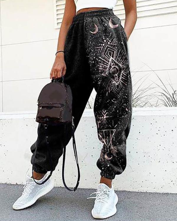 Ladies Casual Retro Sun Starry Sky Print Loose Fitness Sweatpants Trousers