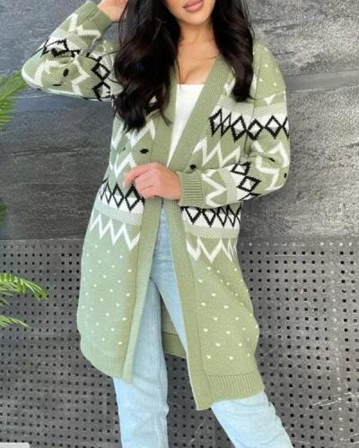 Women's Stylish Long-Sleeved Knitted Cardigan